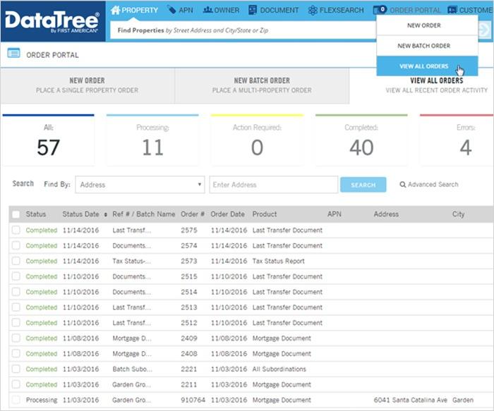 DataTree Order Portal - View All Orders