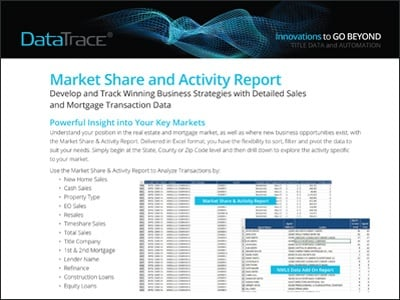 Data Trace Market Share and Activity Report Product Sheet