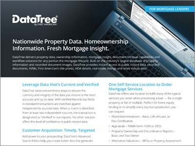DataTree for Mortgage Lenders Product Sheet